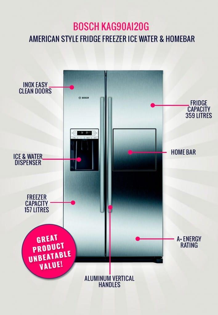The Bosch KAG90AI20G - American Style Fridge Freezer Ice Water & Homebar | Appliance City