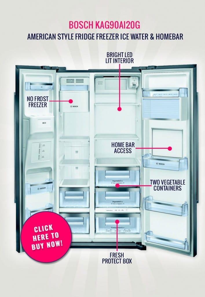 The Bosch KAG90AI20G - American Style Fridge Freezer Ice Water & Homebar   Appliance City