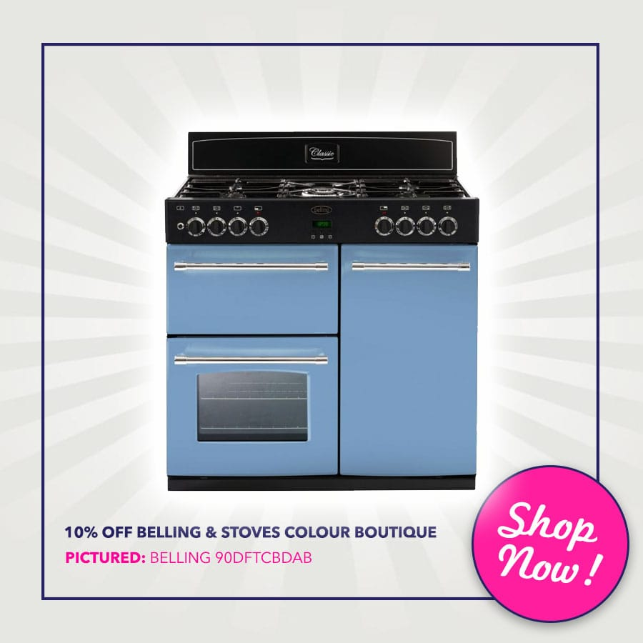 10% off belling & Stoves Colour Boutique Range Cookers - Pictured: Belling CLASSIC 90DFTCBDAB 90cm Dual Fuel Range Cooker Colour Boutique | Appliance City