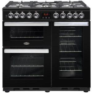 Belling COOKCENTRE DX 90DFTBLK 4105 90cm Dual Fuel Range Cooker – BLACK