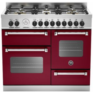 Bertazzoni MAS100-6-MFE-T-VIE-EX DISPLAY 100cm Master Series XG Dual Fuel Range Cooker – BURGUNDY