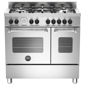 Bertazzoni MAS90-5-MFE-D-XE 90cm Master Dual Fuel Twin Range Cooker – STAINLESS STEEL