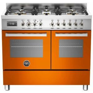 Bertazzoni PRO100-6-MFE-D-ART 100cm Professional Dual Fuel Range Cooker – ORANGE