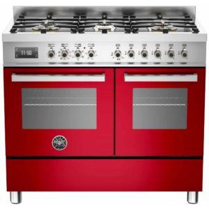 Bertazzoni PRO100-6-MFE-D-ROT 100cm Professional Dual Fuel Range Cooker – RED