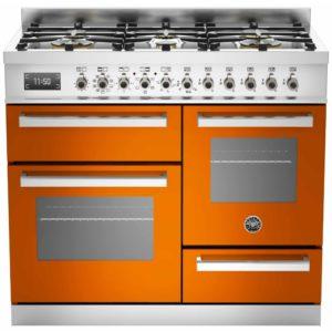 Bertazzoni PRO100-6-MFE-T-ART 100cm Professional XG Dual Fuel Range Cooker – ORANGE