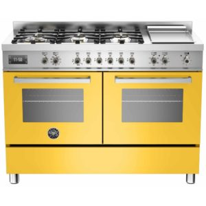 Bertazzoni PRO120-6G-MFE-D-GIT 120cm Professional Dual Fuel Range With Griddle – YELLOW