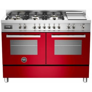 Bertazzoni PRO120-6G-MFE-D-ROT 120cm Professional Dual Fuel Range With Griddle – RED