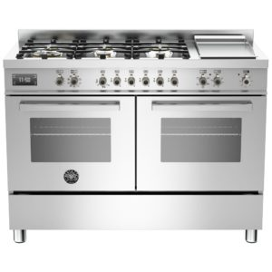 Bertazzoni PRO120-6G-MFE-D-XT 120cm Professional Dual Fuel Range With Griddle – STAINLESS STEEL