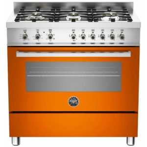 Bertazzoni PRO90-6-HYB-S-ART 90cm Professional Dual Fuel Range 6 Burner – ORANGE
