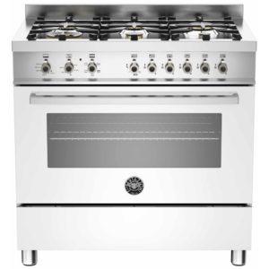 Bertazzoni PRO90-6-HYB-S-BIT 90cm Professional Hybrid Dual Fuel Range Cooker – WHITE
