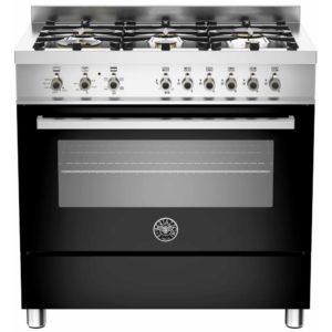 Bertazzoni PRO90-6-HYB-S-NET 90cm Professional Hybrid Dual Fuel Range Cooker – BLACK