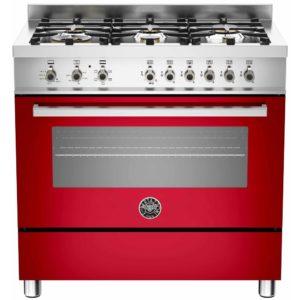 Bertazzoni PRO90-6-HYB-S-ROT 90cm Professional Hybrid Dual Fuel Range Cooker – RED