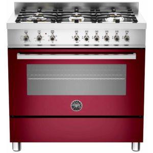 Bertazzoni PRO90-6-HYB-S-VIT 90cm Professional Hybrid Dual Fuel Range Cooker – BURGUNDY