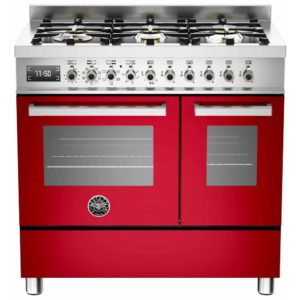 Bertazzoni PRO90-6-MFE-D-ROT 90cm Professional Dual Fuel Twin Range 6 Burner – RED