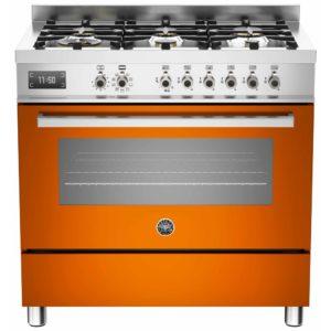 Bertazzoni PRO90-6-MFE-S-ART 90cm Professional Dual Fuel Range 6 Burner – ORANGE