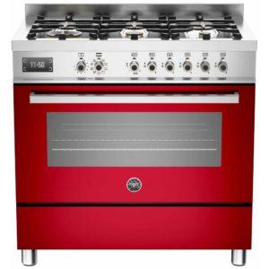 Bertazzoni PRO90-6-MFE-S-ROT 90cm Professional Dual Fuel Range 6 Burner – RED