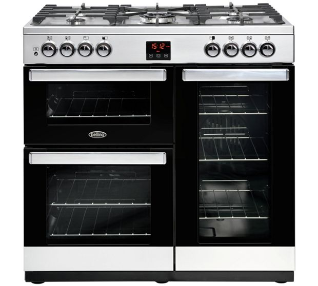 Belling COOKCENTRE 90DFTSTA 4070 90cm Dual Fuel Range Cooker - STAINLESS STEEL