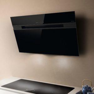 Elica ASCENT HE 60 BL 60cm Decorative Angled Chimney Hood – BLACK