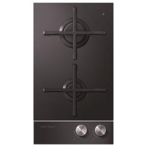 Fisher Paykel CG302DLPGB1 30cm Dual Burner LPG Gas On Glass Domino Hob – BLACK