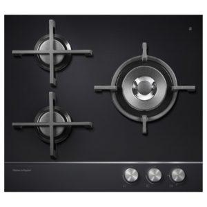 Fisher Paykel CG603DNGGB1 60cm 3 Burner Gas On Glass Hob – BLACK