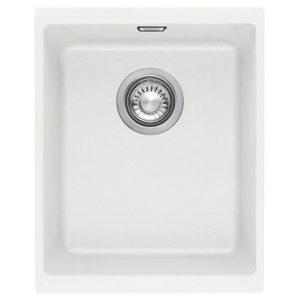 Franke KUBUS KBG110 34 PW Kubus Single Bowl Fragranite Undermount Sink – WHITE