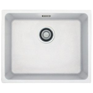 Franke KUBUS KBG110 50 PW Kubus Single Bowl Fragranite Undermount Sink – WHITE