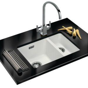 Franke KUBUS KBG160 PW Kubus 1.5 Bowl Fragranite Undermount Sink – WHITE