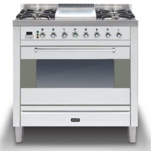 Ilve P-90F-MP-SS 90cm Moderna Dual Fuel Range Cooker With Fry Top – STAINLESS STEEL