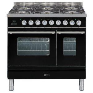 Ilve PDW-906-E3-BLK 90cm Roma Dual Fuel Range Cooker – BLACK
