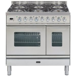 Ilve PDW-906-E3-SS 90cm Roma Dual Fuel Range Cooker – STAINLESS STEEL