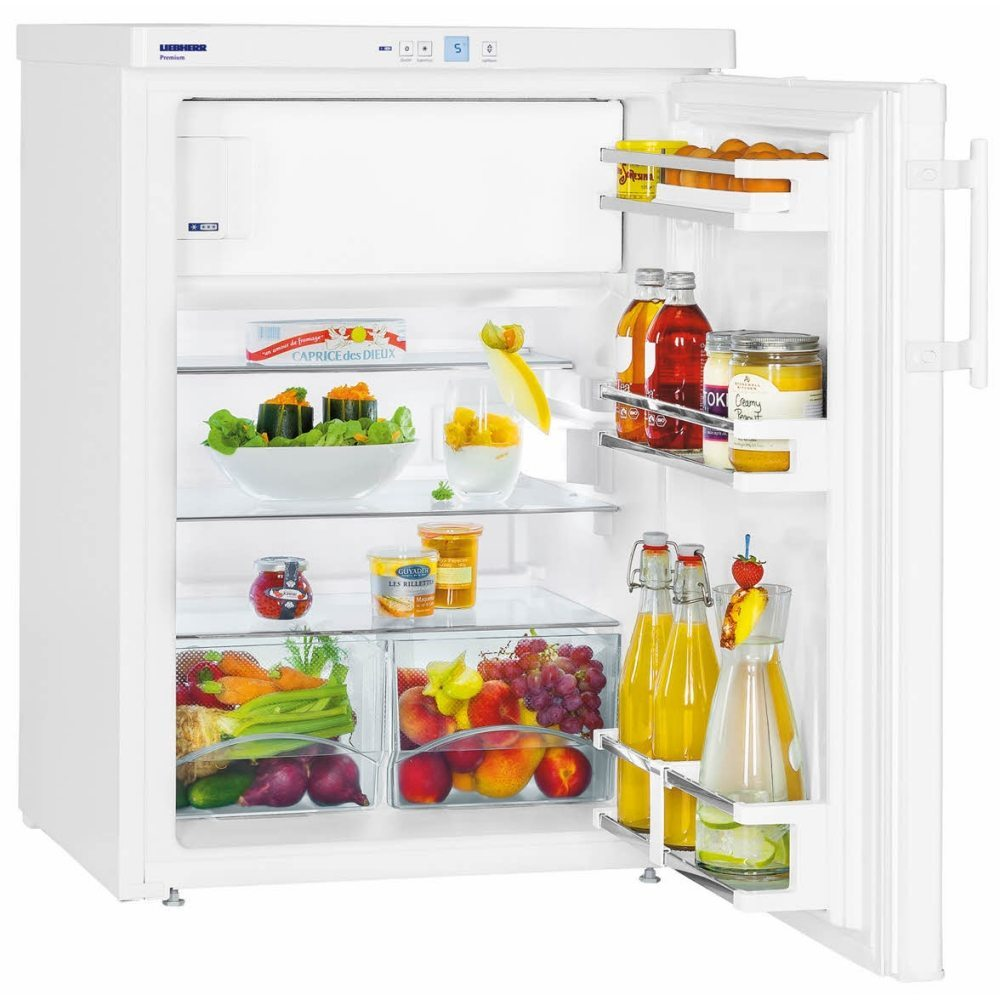 Liebherr TP1764 Freestanding 136 litre Table-Height Fridge White with LC Digital Temperature Display and GlassLine Interior, Child Lock, Reversible Door, 60cm Width