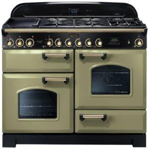 Rangemaster CDL110DFFOG/B Classic Deluxe 110cm Dual Fuel Range Cooker 114470 – OLIVE GREEN