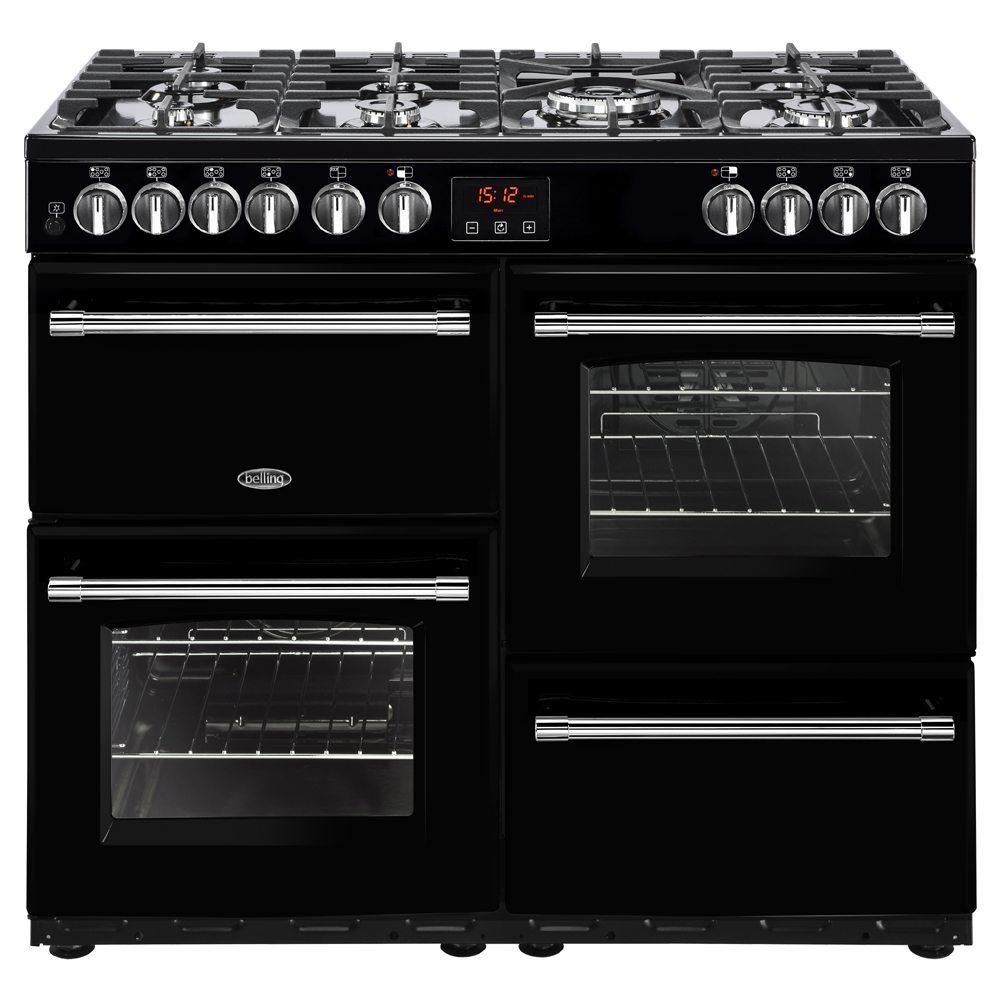 Belling FARMHOUSE 100DFTBLK 4133 100cm Dual Fuel Range Cooker - BLACK