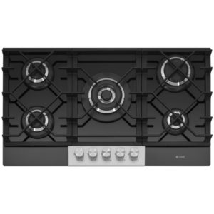 Caple C789G 87cm 5 Burner Gas On Glass Hob – BLACK