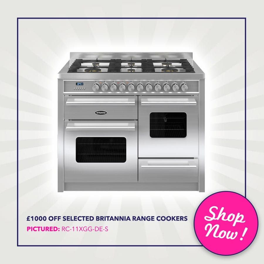 Up to £1000 off selected Britannia range Cookers - Pictured: Britannia RC-11XGG-DE-S 110cm Delphi XG Dual Fuel Range Cooker   Appliance City