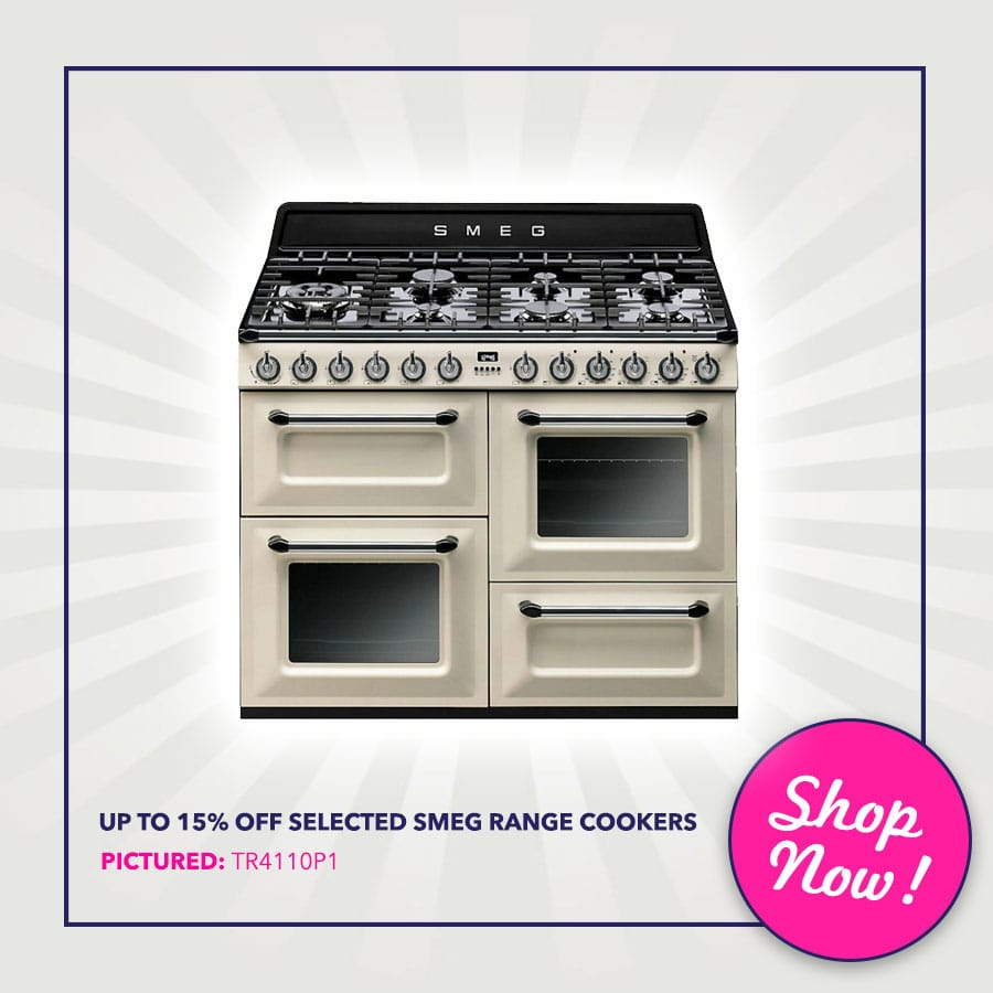 Up to 15% off selected Smeg range Cookers - Pictured: Smeg TR4110P1 110cm 'Victoria' Traditional Dual Fuel Range Cooker   Appliance City