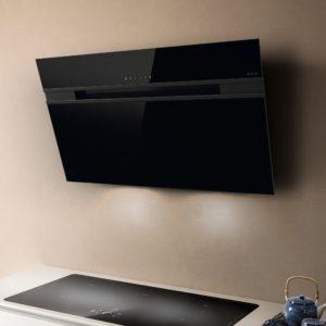 Elica ASCENT LED 60 BL 60cm Decorative Angled Chimney Hood – BLACK