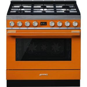 Smeg CPF9GPOR 90cm Portofino Pyrolytic Dual Fuel Range Cooker – ORANGE