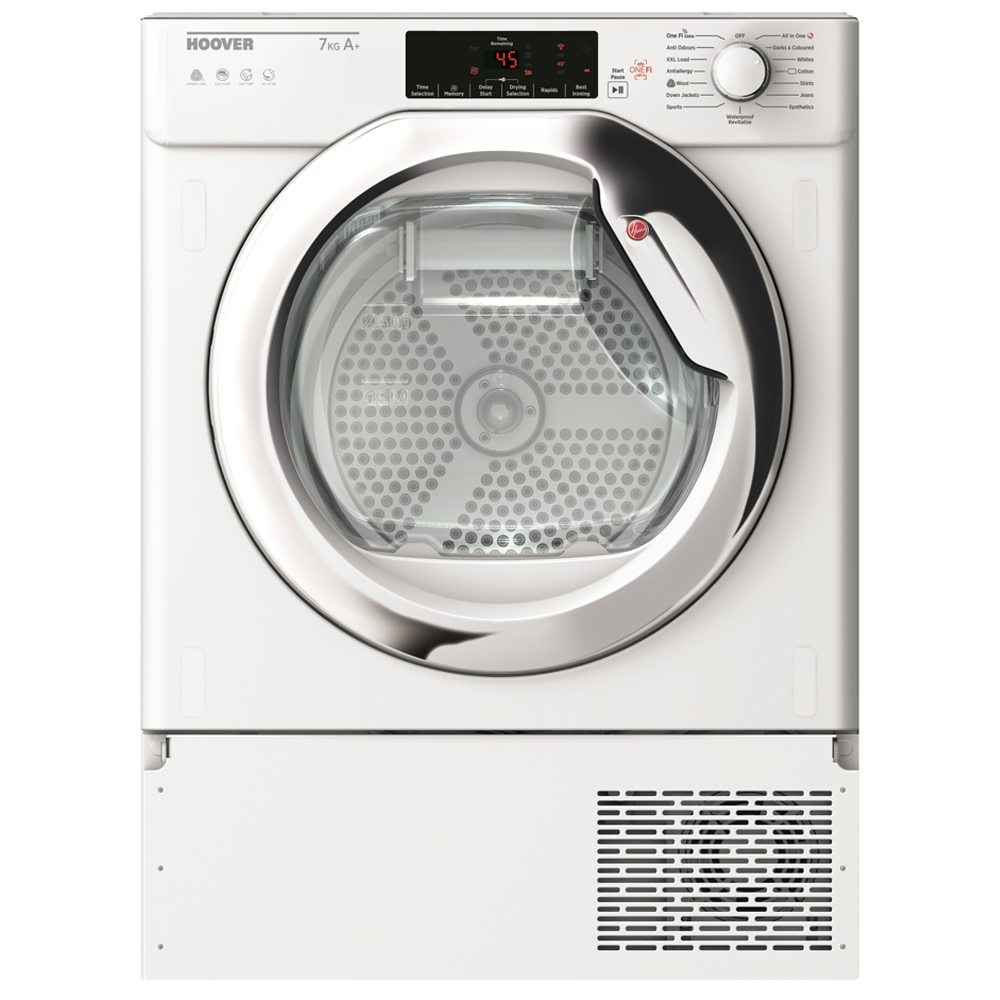 Hoover HBTDWH7A1TCE-80 7kg Integrated Heat Pump Condenser Tumble Dryer - WHITE