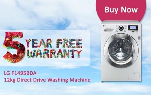 FREE 5 Year Warranty - LG F1495BDA - 12kg Direct Drive Washing Machine   Appliance City