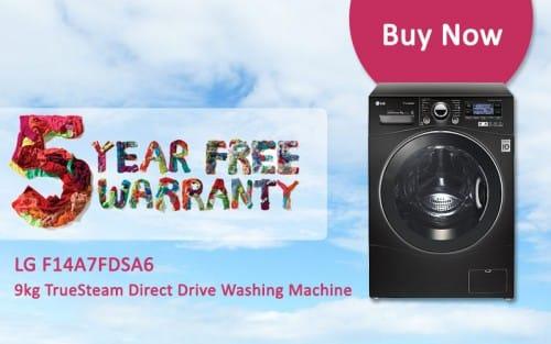 FREE 5 Year Warranty - LG F14A7FDSA6 - 9kg TrueSteam Direct Drive Washing Machine   Appliance City