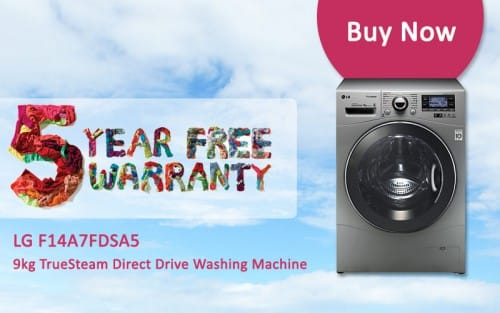 FREE 5 Year Warranty - LG F14A7FDSA5 - 9kg TrueSteam Direct Drive Washing Machine   Appliance City