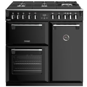 Stoves RICHMOND DX S900DFGTGBK 4899 Richmond Deluxe 90cm Gas On Glass Dual Fuel Cooker – BLACK
