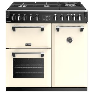 Stoves RICHMOND DX S900DFGTGCC 4900 Richmond Deluxe 90cm Gas On Glass Dual Fuel Cooker – CREAM