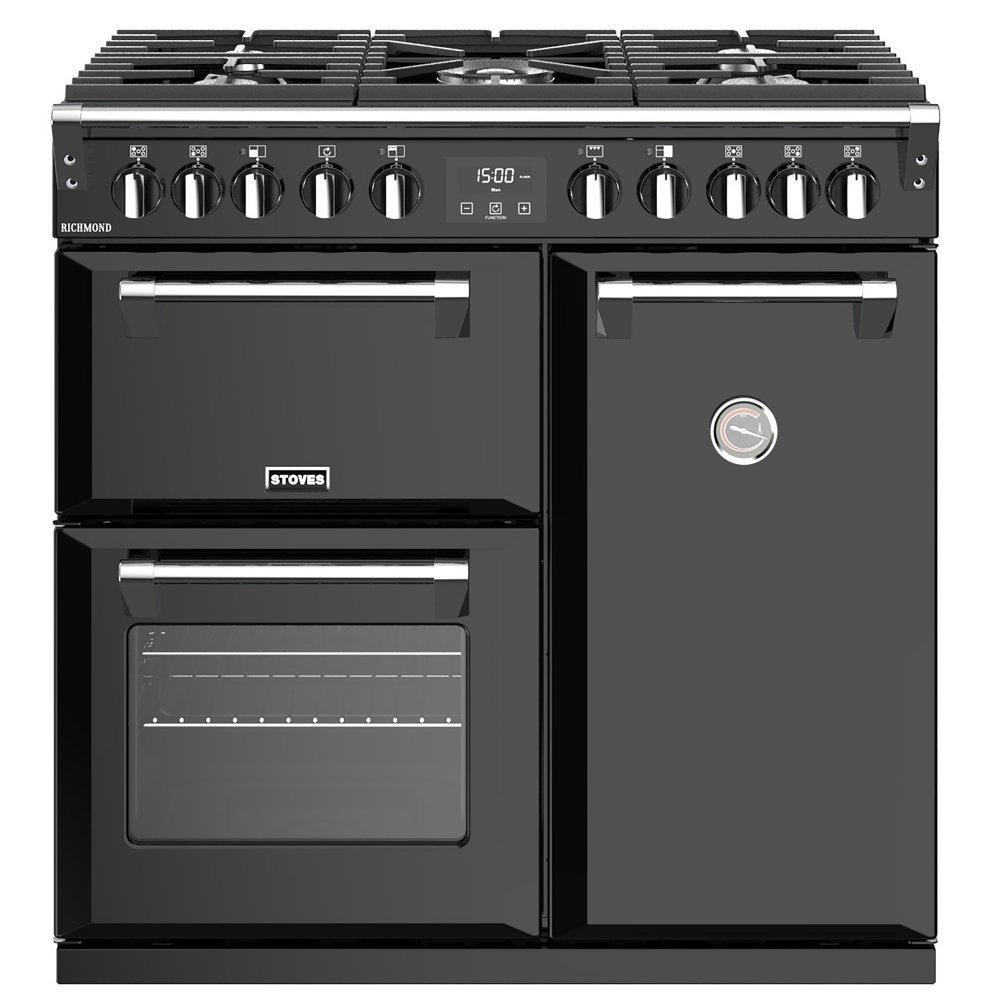 Stoves RICHMOND S900DFBK 4435 Richmond 90cm Dual Fuel Range Cooker - BLACK