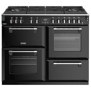 Stoves RICHMOND DX S1100DFGTGBK 4919 Richmond Deluxe 110cm Gas On Glass Dual Fuel Cooker – BLACK
