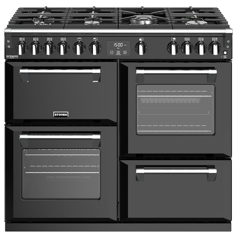 Stoves RICHMOND DX S1000GBK 4913 Richmond Deluxe 100cm Gas Range Cooker - BLACK