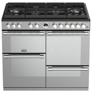 Stoves STERLING DX S1000DFGTGSS 4944 Sterling Deluxe 100cm Gas On Glass Dual Fuel Range Cooker – STAINLESS STEEL