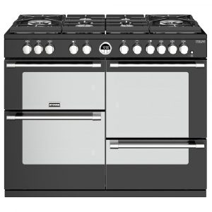 Stoves STERLING DX S1100DFGTGBK 4953 Sterling Deluxe 110cm Gas On Glass Dual Fuel Range Cooker – BLACK