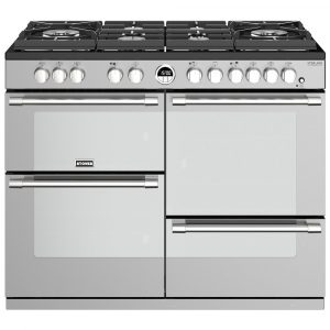 Stoves STERLING DX S1100DFGTGSS 4954 Sterling Deluxe 110cm Gas On Glass Dual Fuel Range Cooker – STAINLESS STEEL